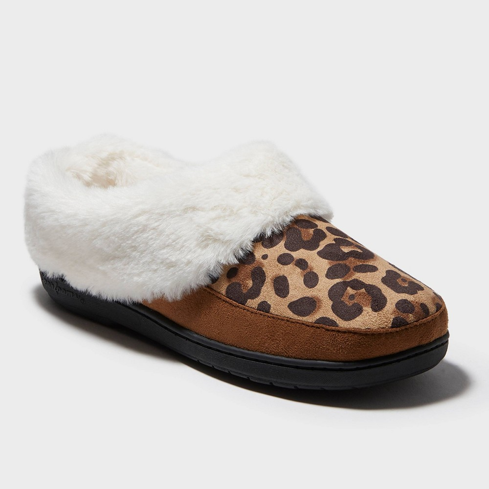 Image of Women's dluxe by dearfoams Corrine Slide Slippers - Leopard S(5-6), Women's, Size: Small (5-6), Brown White