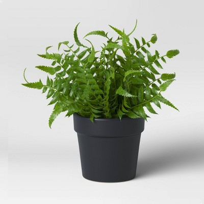 Faux Fern in Black Pot - Threshold™