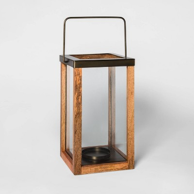 Wooden Pillar Candle Holder Lantern Brown - Threshold™