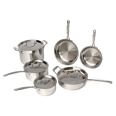 BergHOFF Earthchef 10 Piece 18/10 Stainless Steel Premium Copper Clad Cookware Set - Silver