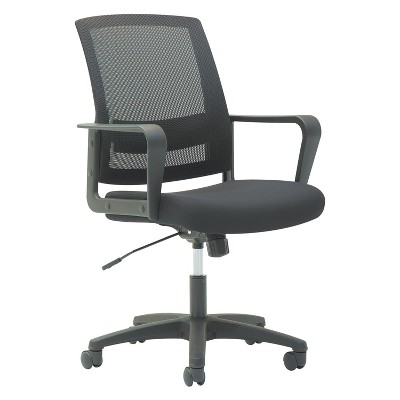 OIF Mesh Mid-Back Chair, Fixed Loop Arms, Black