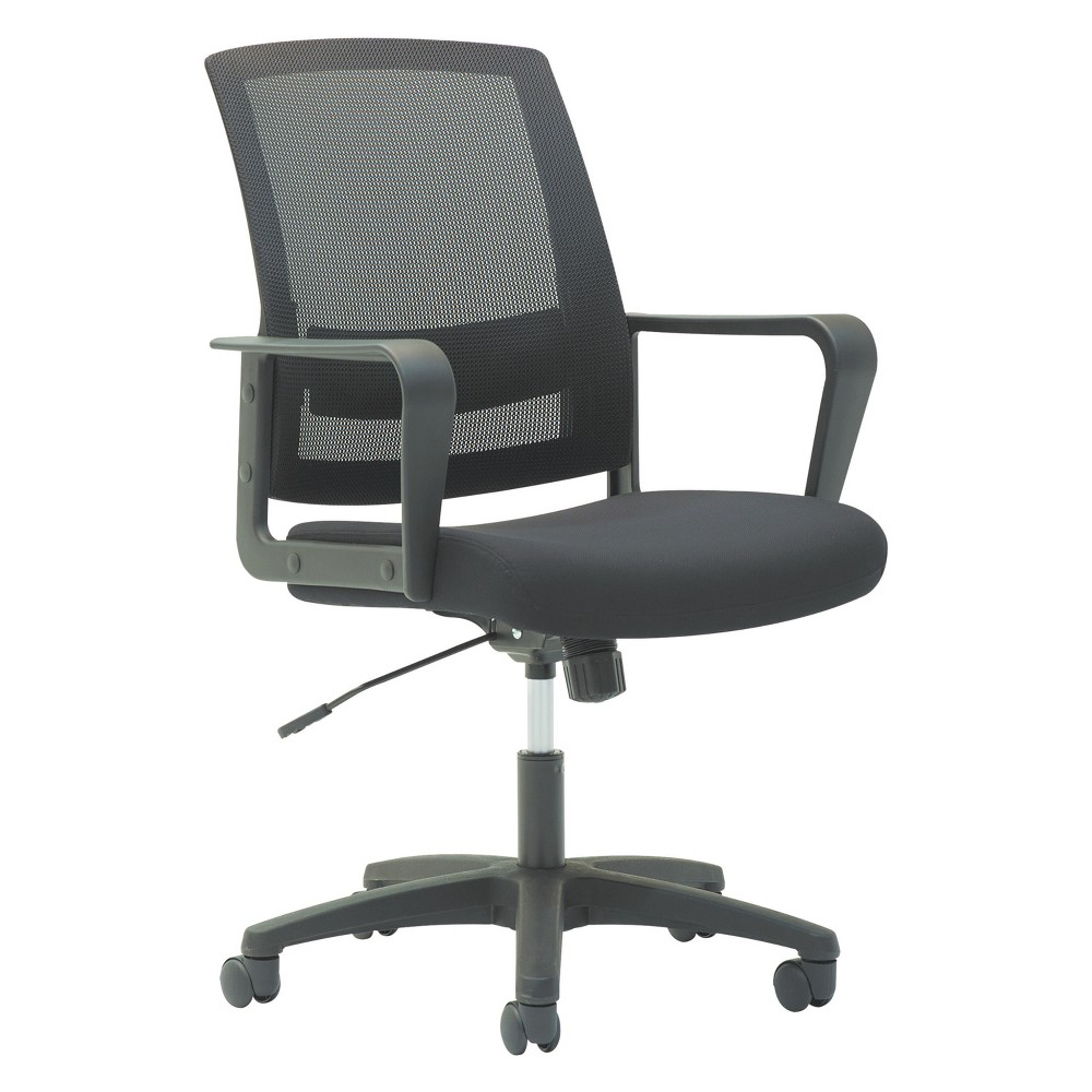 Image of OIF Mesh Mid-Back Chair, Fixed Loop Arms, Black