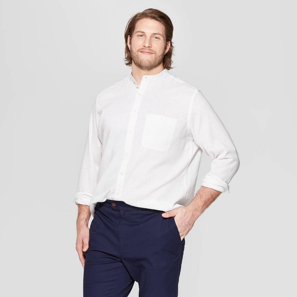 Men's Tall Long Sleeve Mandarin Collared Linen Cotton Button-Down Shirt - Goodfellow & Co White Xlt