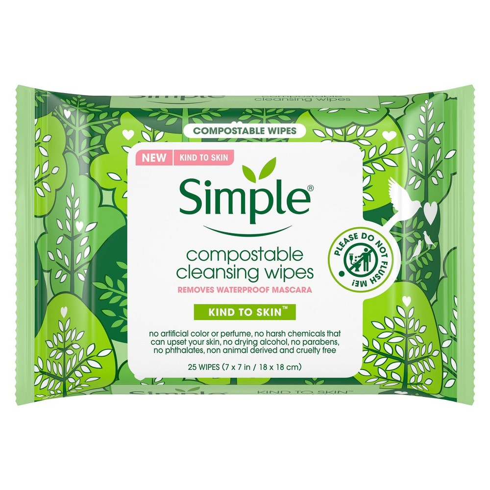 Image of Simple Kind To Skin Compostable Cleansing Wipes - 25ct