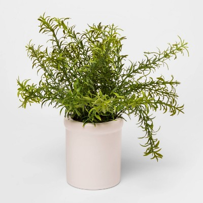 "9"" x 9"" Artificial Rosemary Plant in Ceramic Pot Green/White - Threshold™"