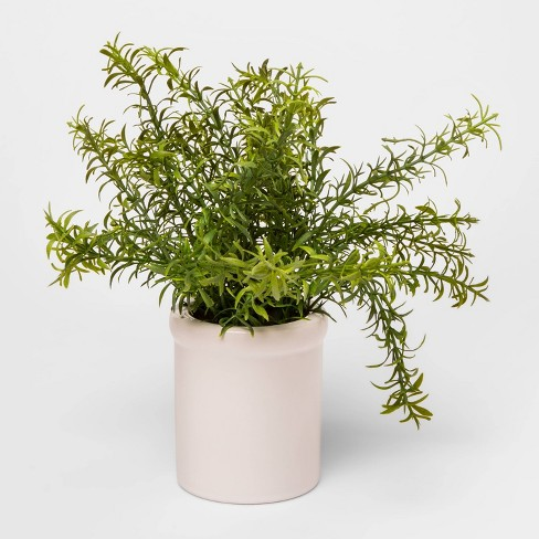 """9"""" x 9"""" Artificial Rosemary Plant in Ceramic Pot Green/White - Threshold™ - image 1 of 1"""