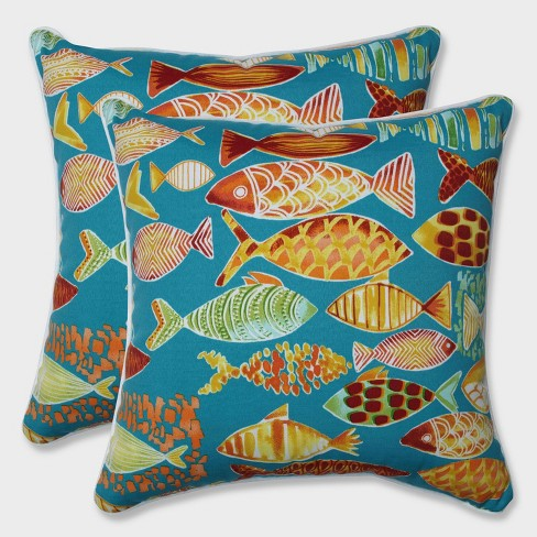 """18.5"""" 2pk Hooked Beach Throw Pillows Blue - Pillow Perfect - image 1 of 1"""