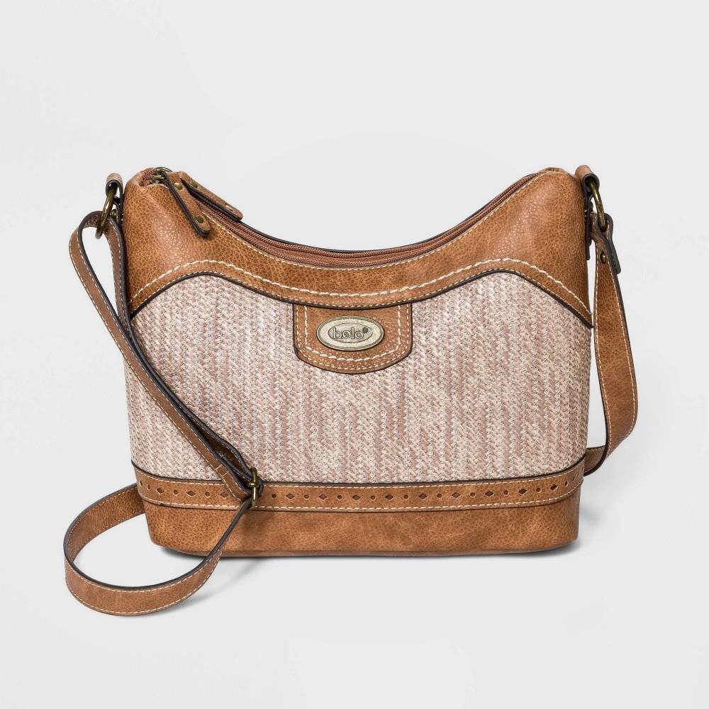 Image of Bolo Basket Weave Zig Zap Straw Hobo Handbag - Brown