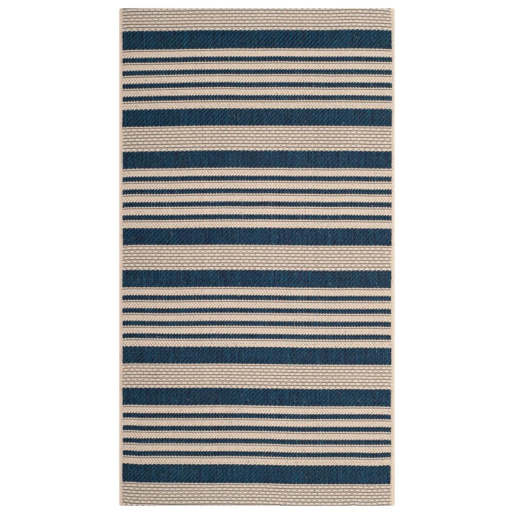 Santorini 2' x 3'7 Stripe Outdoor Rug Navy/Beige - Safavieh, Blue