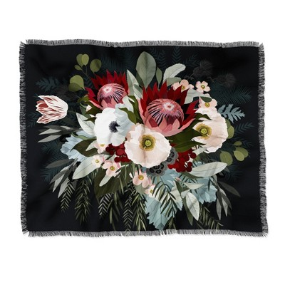 60 X50  Iveta Abolina Adeline Moon Throw Blanket Black - Deny Designs