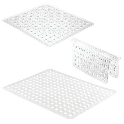 mDesign Kitchen In-Sink Protector Set - 1 Sink Saddle, 2 Mats (Reg & L) - Clear