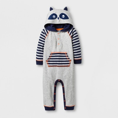Baby Boys' Hooded Romper with Front Pocket - Cat & Jack™ Gray 0-3M