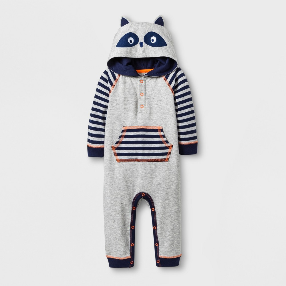 Baby Boys' Hooded Romper with Front Pocket - Cat & Jack Gray 0-3M