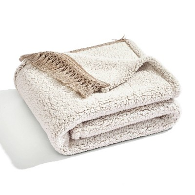 """50""""x60"""" Sherpa with Tassel and Fringe Throw Blanket Neutral - Lush Décor"""