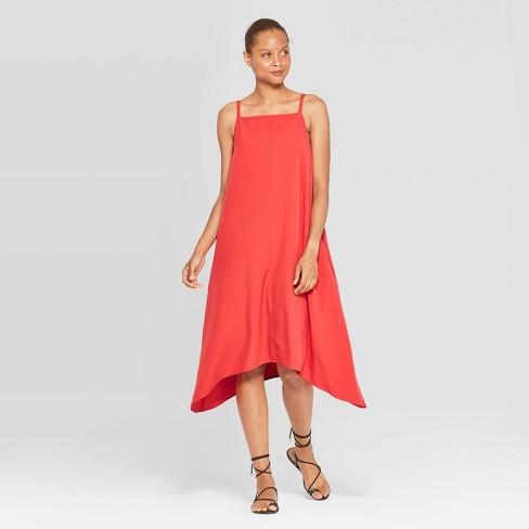 Women's Sleeveless Square Neck Scarf Hem Slip Dress - Prologue™ Red - image 1 of 3