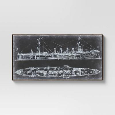 "47"" x 24"" Ship Blueprint Framed Wall Canvas White/Black - Threshold™"