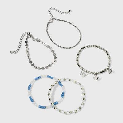 Girls' 5pk Mixed Butterfly Stretch Bracelet Set - art class™