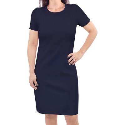 Touched by Nature Womens Organic Cotton Short-Sleeve Dress, Navy