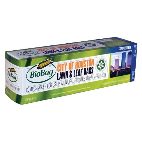 Biobag Compole Lawn Leaf Trash Bags 33 Galon 10ct