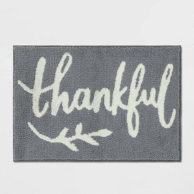 "26""x18"" Harvest Gray Thankful Bath Rug - Threshold™"