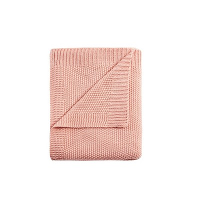 """60""""x50"""" Bree Knit Throw Blanket Coral"""