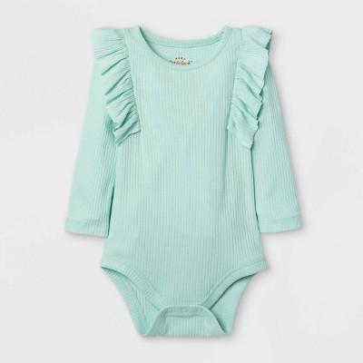 Baby Girls' Rib Ruffle Long Sleeve Bodysuit - Cat & Jack™ Mint Green 0-3M