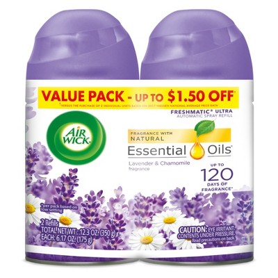 Air Wick Freshmatic Automatic Spray Air Freshener - Lavender and Chamomile Scent - Twin Refills - 6.17oz