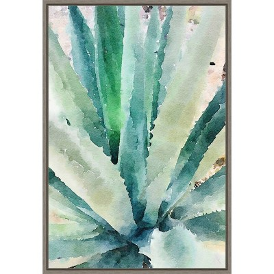 "16"" x 23"" Rustic Succulent II by Irena Orlov Framed Canvas Wall Art - Amanti Art"