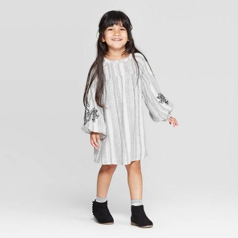 Toddler Girls' Embroidered Raglan Sleeve Striped Dress - art class™ Black/White - image 1 of 3