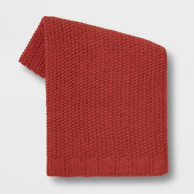 Solid Chenille Knit Throw Blanket Berry - Threshold™