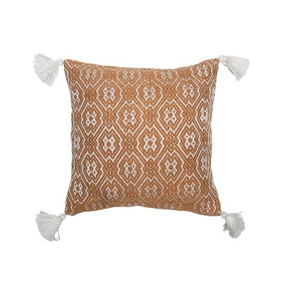 Brown and White Hand Woven 18 x 18 inch Outdoor Decorative Throw Pillow Cover With Insert and Hand Tied Tassels - Foreside Home & Garden