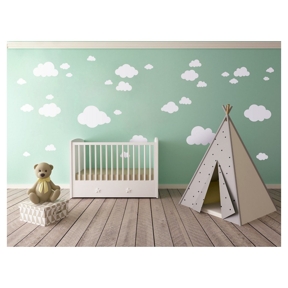 Image of Clouds Large Wall Decal, White