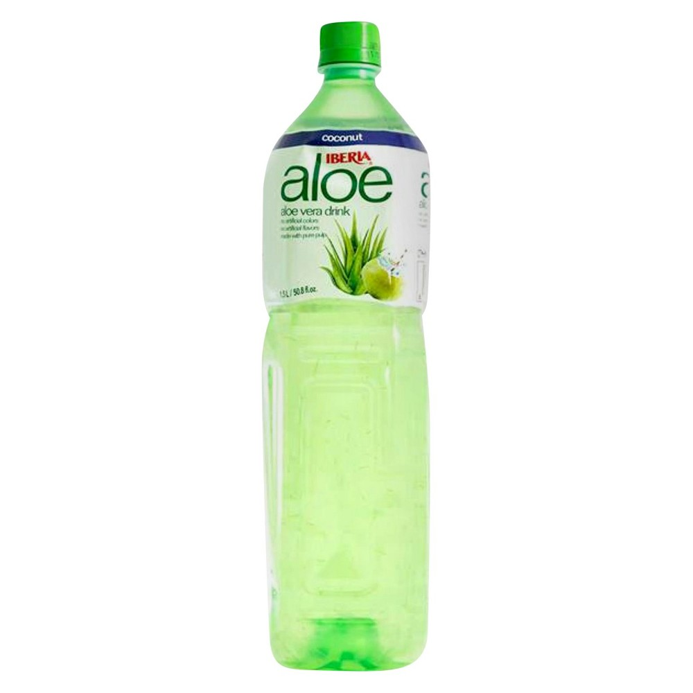 Iberia Coconut Aloe Vera Drink 50.8 oz Support a healthier lifestyle and replace pop or juice with the Coconut Aloe Vera Drink from Iberia. Made with no artificial colors or flavors, this drink features actual aloe vera pulp from organic aloe vera fields in Taiwan as its main ingredient. A refreshing coconut flavor makes this an easy alternative to help curb those sugar-loaded beverage cravings.