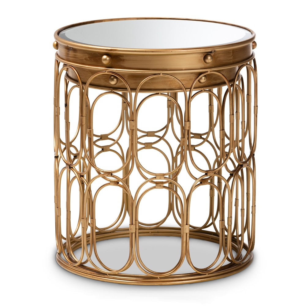 Image of 2pc Amina Finished Metal and Mirrored Glass Stackable Accent Table Set Gold - Baxton Studio