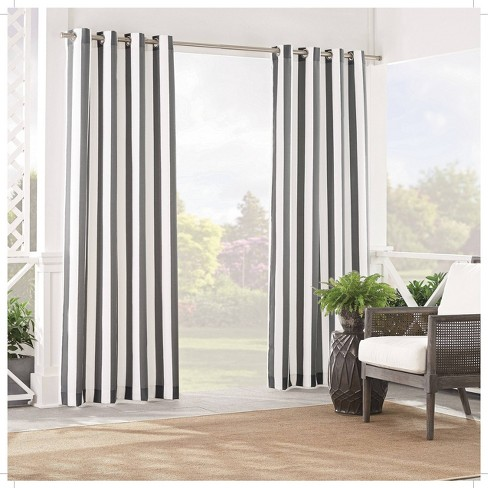 84 x52 solstice stripe light filtering curtain panel gray waverly sun n shade