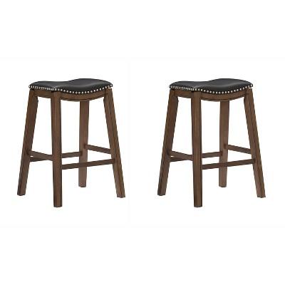 "Homelegance 29"" Counter Height Wooden Saddle Seat Barstools, Black (2 Pack)"