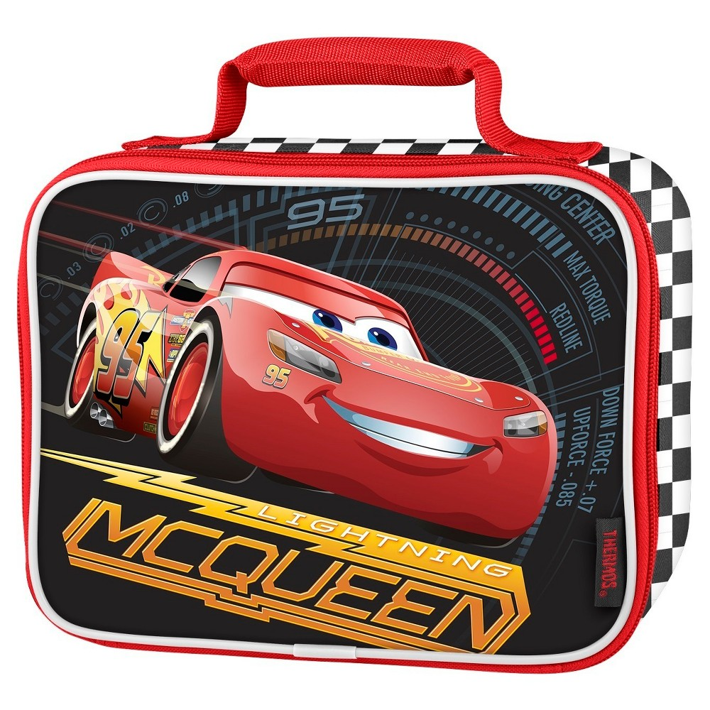 Thermos Cars Lightning McQueen Soft Lunch Box, Red This soft lunch kit from GENIUNE THERMOS BRAND is a great choice for kids to take their lunch to school. Decorated with brightly colored and detailed graphics, this lunch kit features a comfortable, padded carrying handle and premium foam insulation to keep lunches cooler and fresher.