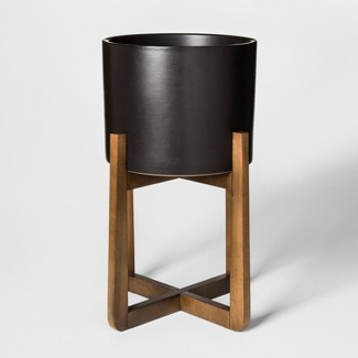 Wood & Stoneware Indoor Planter Large - Black - Project 62™