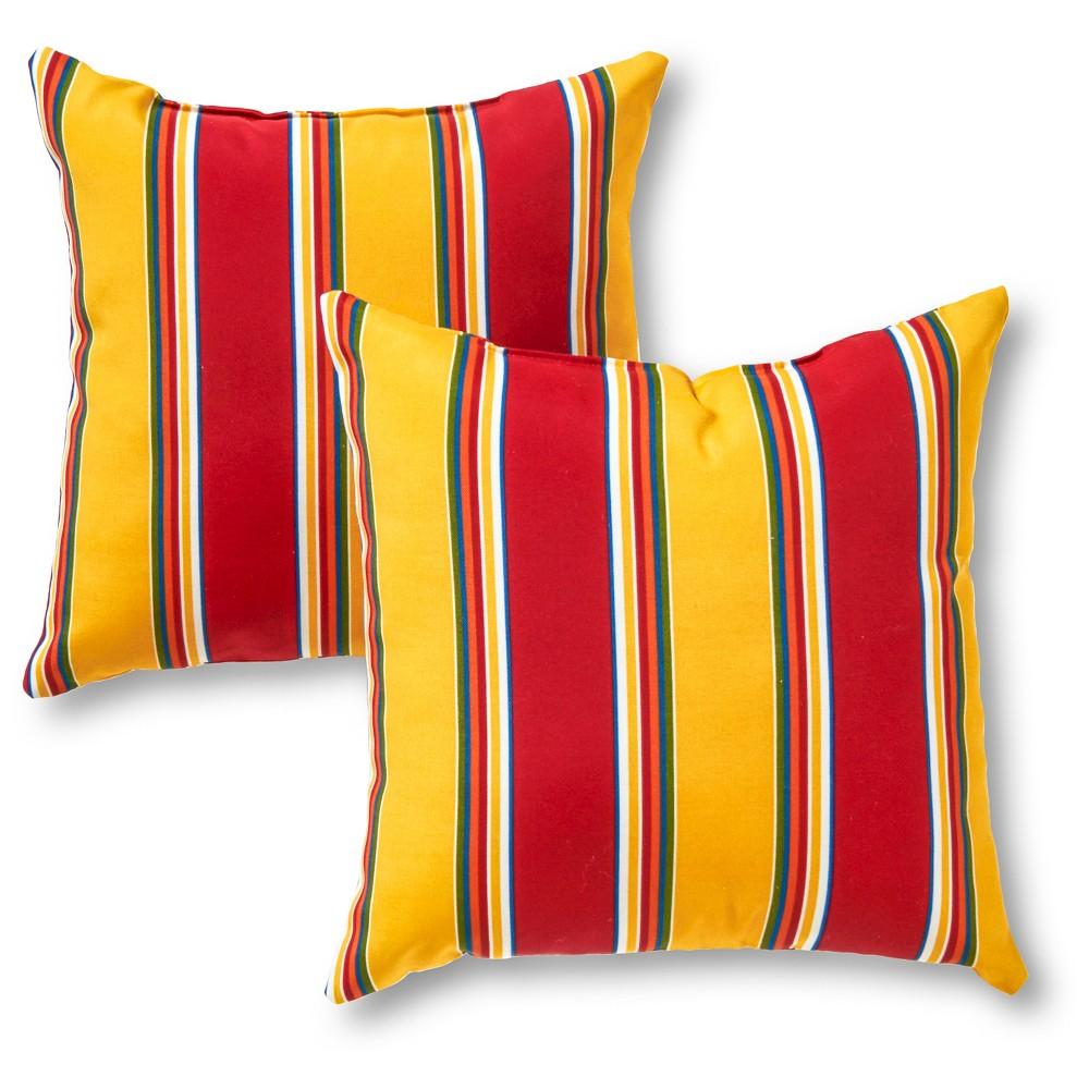 Set Of 2 Carnival Stripe Outdoor Square Throw Pillows Kensington Garden