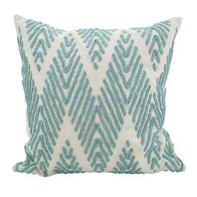Saro Lifestyle 18 x18  Chevron Cotton Stitch Down Filled Throw Pillow Blue