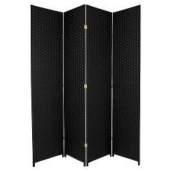 7 ft. Tall Woven Fiber Room Divider - Black (4 Panels)
