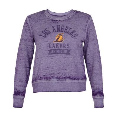 NBA Los Angeles Lakers Women's Retro Sport Burnout Crew Neck Sweatshirt - L