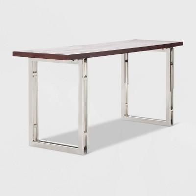 Highline Stainless Steel Metal Bench Dark Walnut Brown - Finch