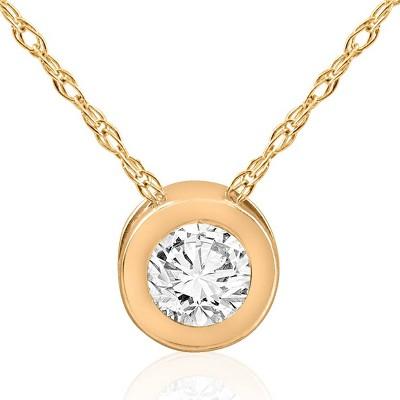 Pompeii3 14k Yellow Gold 5/8ct Round Bezel Solitaire Diamond Pendant 14K Necklace