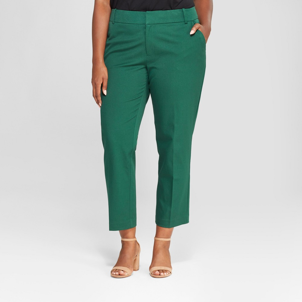 Women's Plus Size Comfort Waistband Ankle Pants - Ava & Viv Green 24W, Dark Green