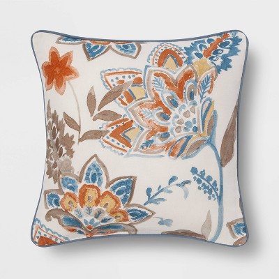 Watercolor Floral Square Throw Pillow Blue - Threshold™