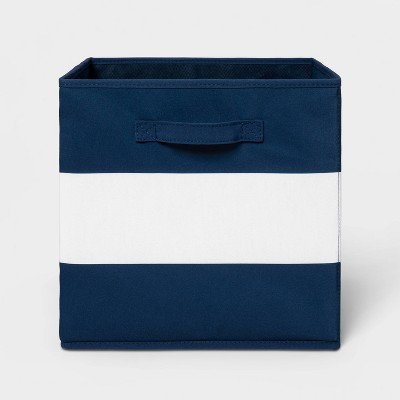 "13"" Fabric Stripe Storage Bin Navy - Pillowfort™"