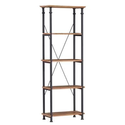 "74.5"" Loopec Wood Shelf Bookshelf with Metal Frame Rustic Oak Brown - Inspire Q"