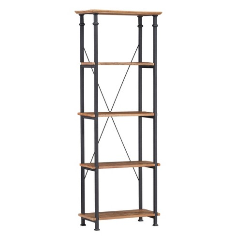 "74.5"" Loopec Wood Shelf Bookcase with Metal Frame Rustic Oak Brown - Inspire Q - image 1 of 4"