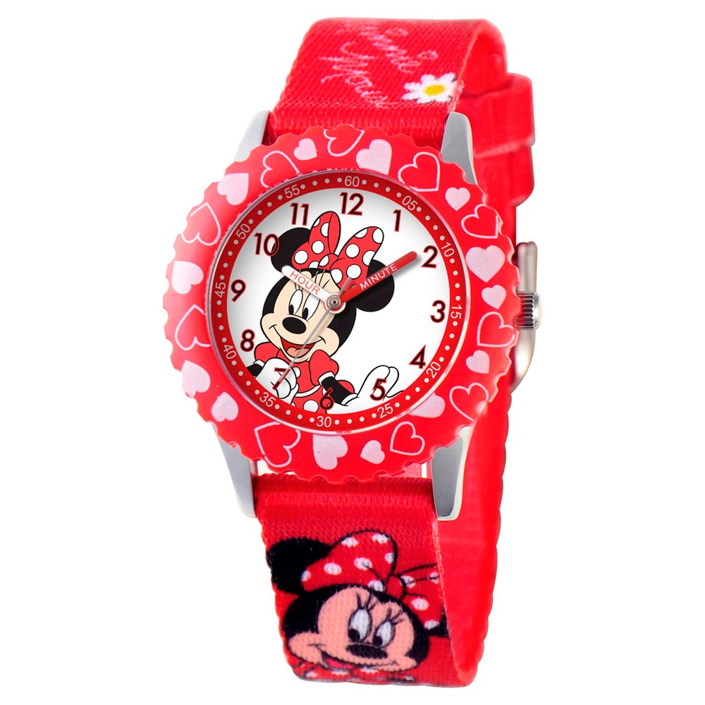 Girls' Disney Minnie Mouse Stainless Steel with Printed Bezel Watch - Red